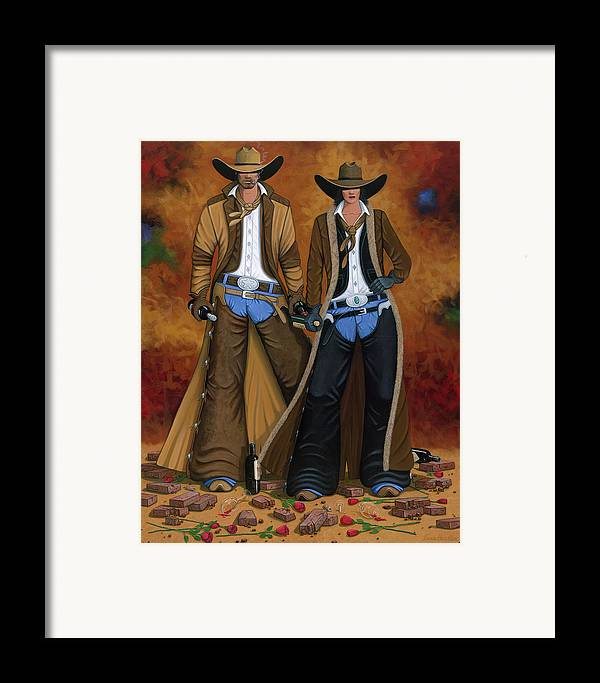 Cowgirl Framed Print featuring the painting Wine And Roses by Lance Headlee