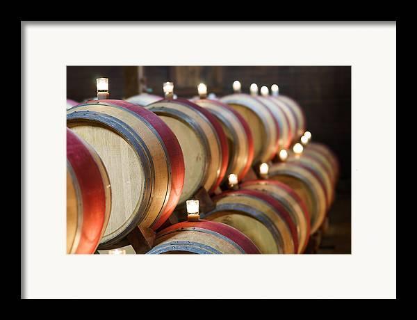 California Framed Print featuring the pastel Wine Barrels by Francesco Emanuele Carucci