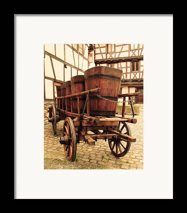 Wine Cart Framed Print featuring the photograph Wine Cart In Alsace France by Greg Matchick