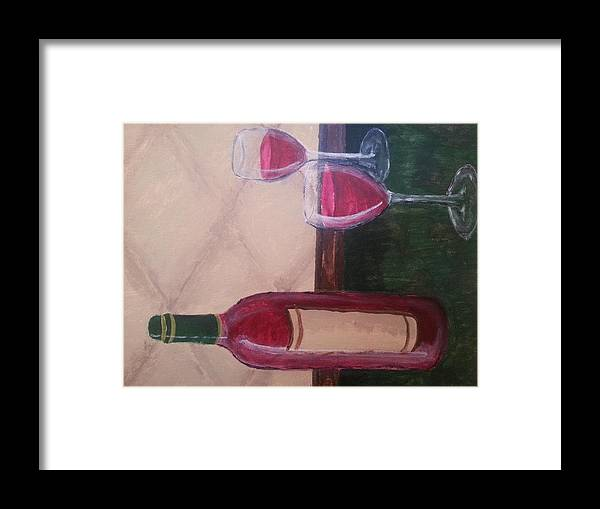 Canvas Framed Print featuring the painting Wine by Cassie Carney