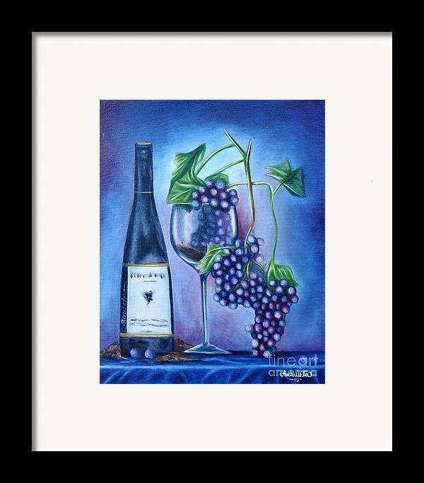 Wine Framed Print featuring the painting Wine Dance by Ruben Archuleta - Art Gallery