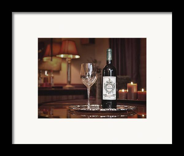Red Framed Print featuring the photograph Wine For One by Dennis James