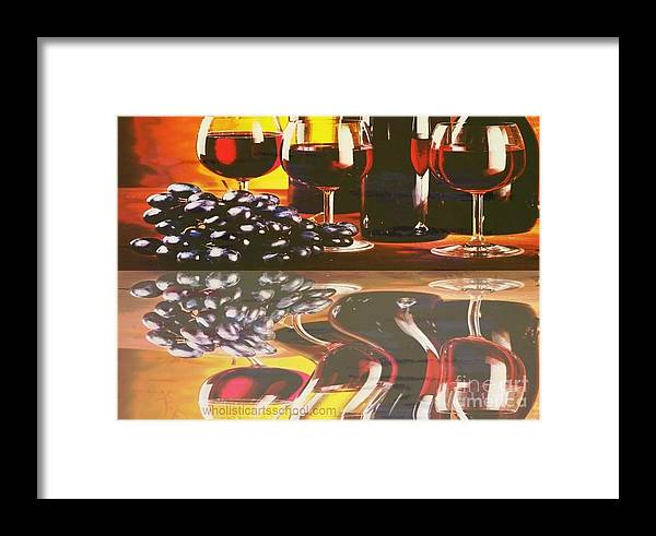 Wine Framed Print featuring the painting Wine Reflections by PainterArtist FIN