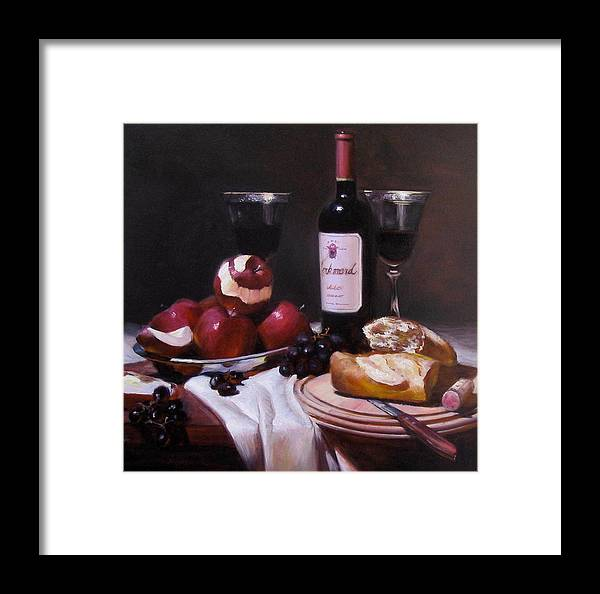 Wine Framed Print featuring the painting Wine With Peeled Apples by Takayuki Harada