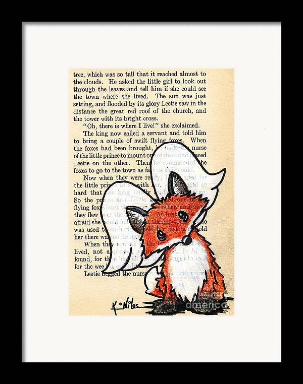 Fox Framed Print featuring the drawing Winged Fox by Kim Niles
