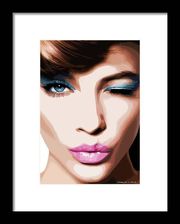 Amazing Girl Framed Print featuring the digital art Wink - Pretty Faces Series by Gabriel T Toro