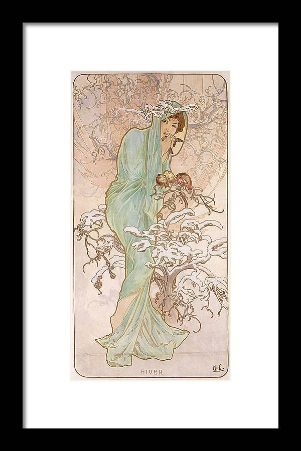 Mucha Framed Print featuring the painting Winter by Alphonse Marie Mucha