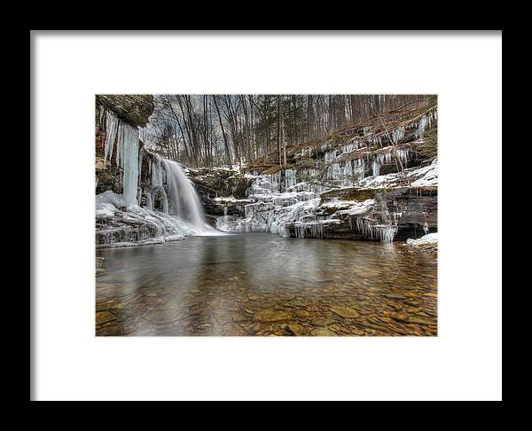 Lewis Falls Framed Print featuring the photograph Winter At Lewis Falls by Lori Deiter