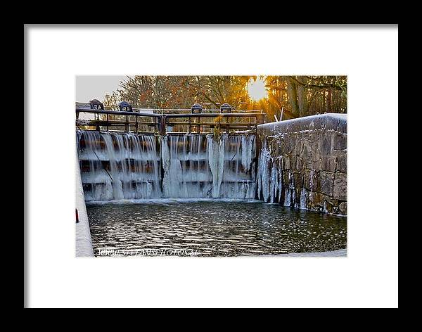 Winter Sun Snow Sunshine Beatiful View Canal Nature Ice Idyllic Sweden Arboga Framed Print featuring the photograph Winter At The Canal by Stefan Pettersson