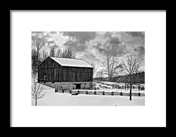 Barn Framed Print featuring the photograph Winter Barn Monochrome by Steve Harrington