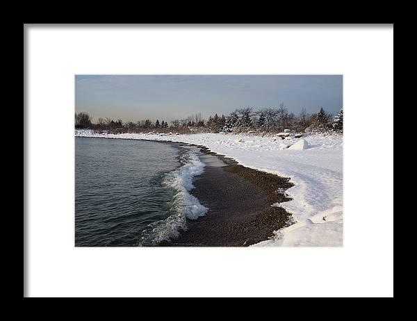 Georgia Mizuleva Framed Print featuring the photograph Winter Beach - Soft Snow On Lake Ontario by Georgia Mizuleva