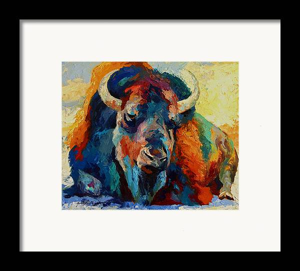 Wildlife Framed Print featuring the painting Winter Bison by Marion Rose