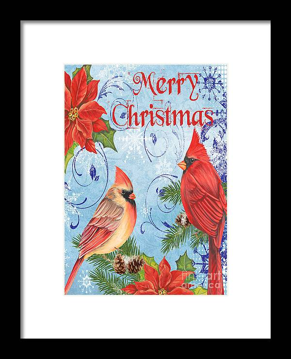 Watercolor Painting Framed Print featuring the mixed media Winter Blue Cardinals-merry Christmas Card by Jean Plout