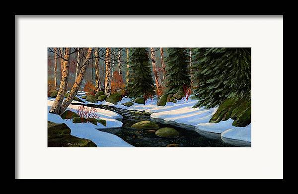Landscape Framed Print featuring the painting Winter Brook by Frank Wilson