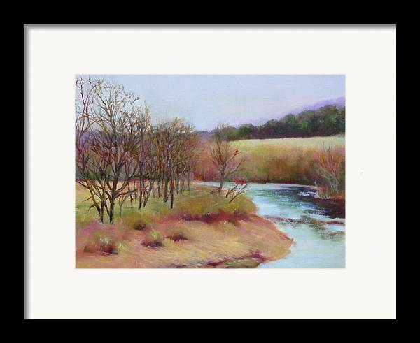 Landscape Framed Print featuring the painting Winter Creek         Copyrighted by Kathleen Hoekstra
