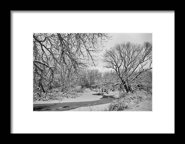 Winter Framed Print featuring the photograph Winter Creek In Black And White by James BO Insogna