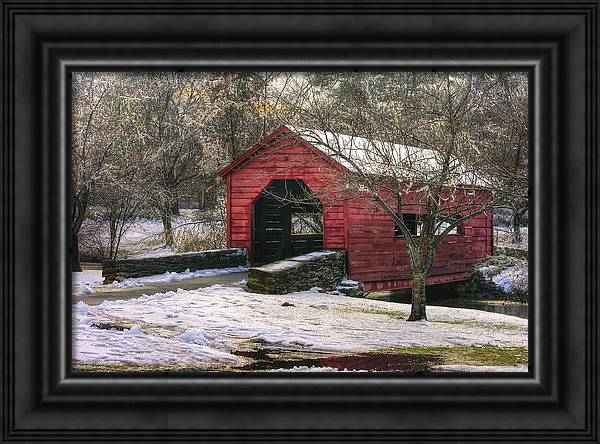 Winter Crossing in Elegance - Carroll Creek Covered Bridge - Baker Park Frederick Maryland by Michael Mazaika