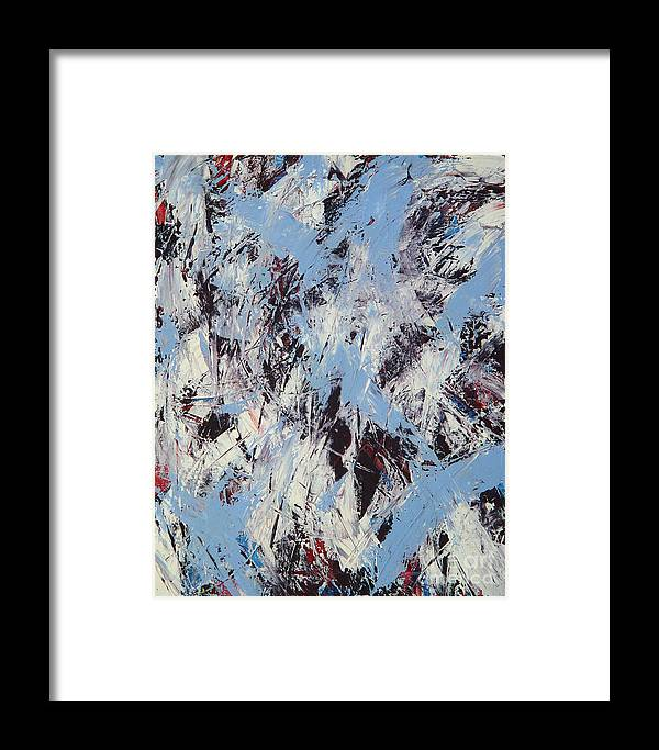 Abstract Framed Print featuring the painting Winter by Dean Triolo