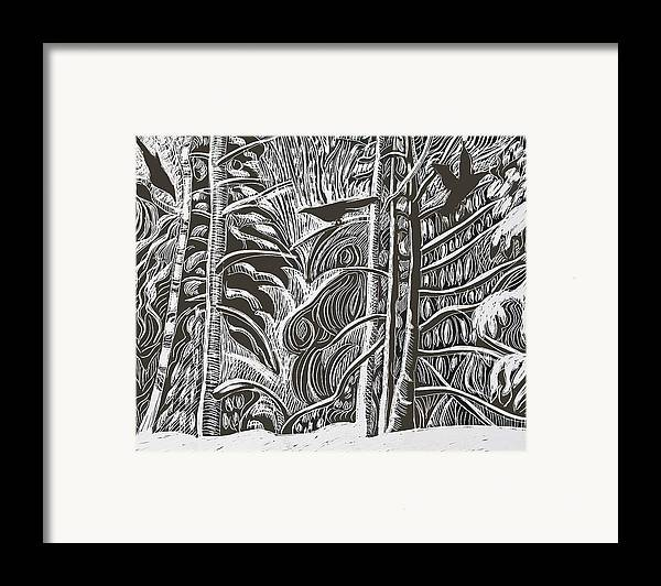 Crows Framed Print featuring the drawing Winter Etching by Grace Keown