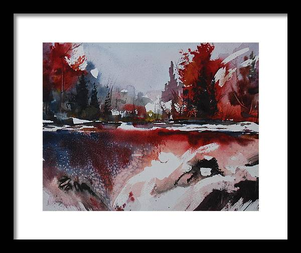 Forest Abstract Lakes Snow Winter Framed Print featuring the painting Winter Firerworks by Wilfred McOstrich