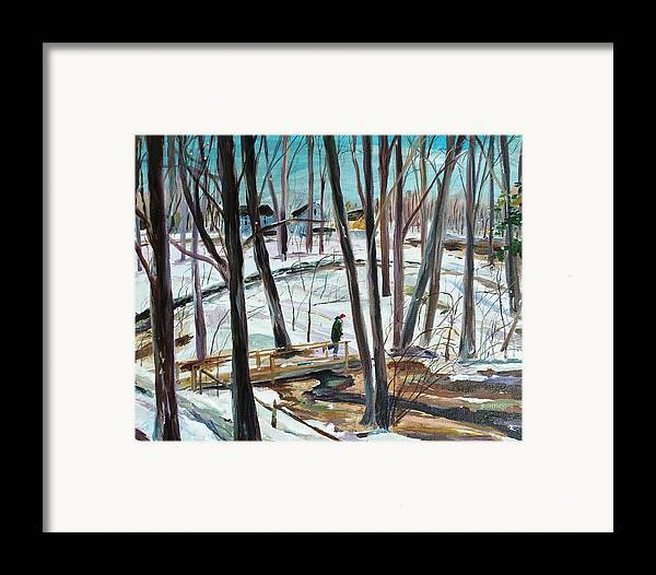 Acrylic Framed Print featuring the painting Winter Footbridge by Scott Nelson