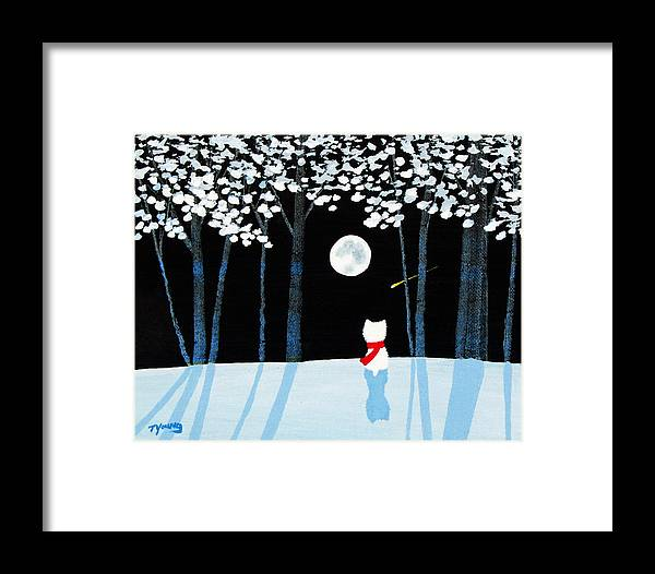 Westie Framed Print featuring the painting Winter Forest by Todd Young