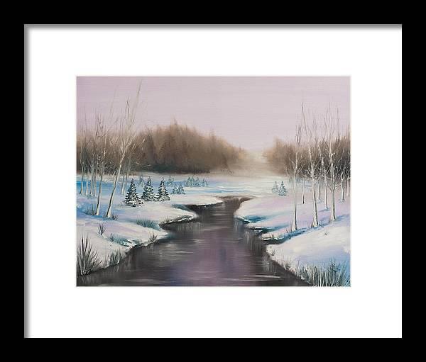 Winter Framed Print featuring the painting Winter Freeze by Vidmantas Goldbergas