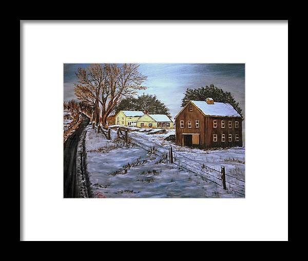 Landscape Framed Print featuring the painting Winter Home and Barn by Kenneth LePoidevin
