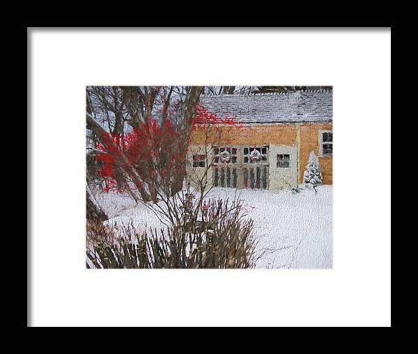 Winter Framed Print featuring the photograph Winter House by Deborah Drinon-Haggerty