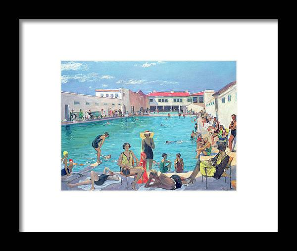 Swimming Pool Framed Print featuring the painting Winter In Florida by Sir John Lavery