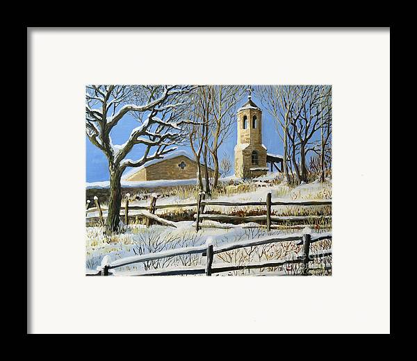 Architecture Framed Print featuring the painting Winter In Stoykite by Kiril Stanchev