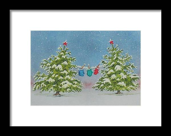 Fun Framed Print featuring the painting Winter Is Fun by Mary Ellen Mueller Legault