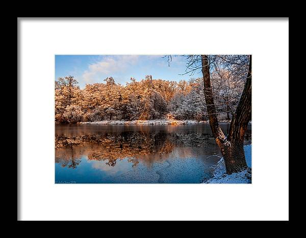Zegrze Framed Print featuring the photograph Winter Lake Reflections by Julis Simo
