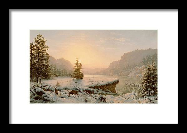 Scene; Remote; American; Landscape; Countryside; Rural; Wilderness; Deer; Animal; Animals; Nature; Snow; Snow-covered; Fir-tree; Fir; Tree; Trees; Firs; Lake; River; Dawn; Dusk; Morning; Evening; Sunrise; Sunset; Atmospheric; Beauty; Beautiful; Spectacular; Majestic; Buck Framed Print featuring the painting Winter Landscape by Mortimer L Smith