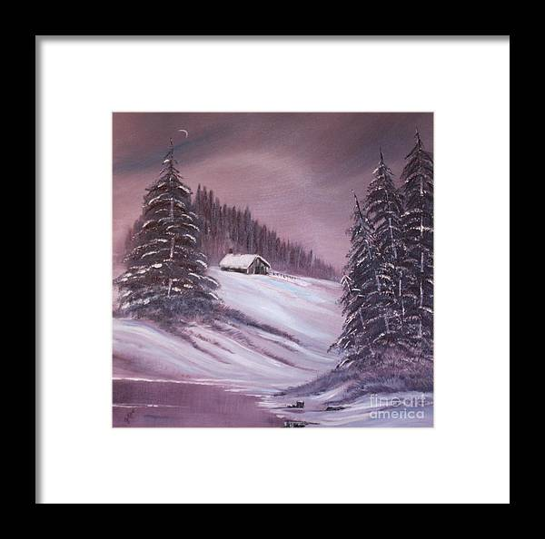 Landscape Framed Print featuring the painting Winter Moon by Janice Pariza