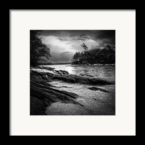 Shore Framed Print featuring the photograph Winter Moonlight Wolfes Neck Woods Maine by Bob Orsillo
