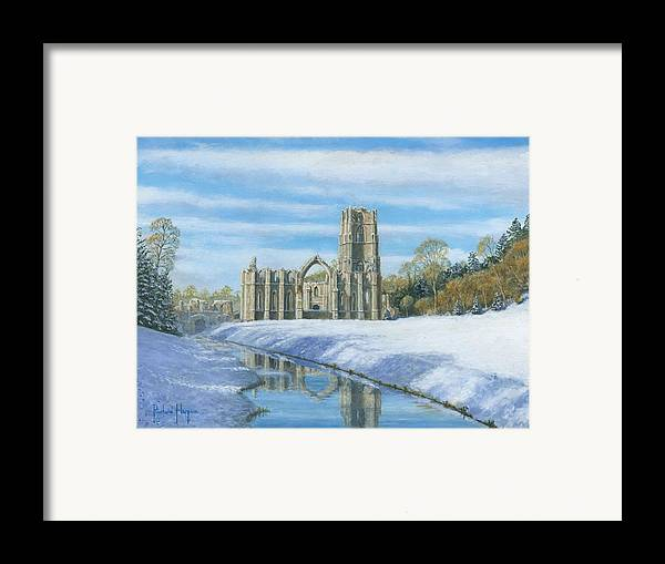 Landscape Framed Print featuring the painting Winter Morning Fountains Abbey Yorkshire by Richard Harpum