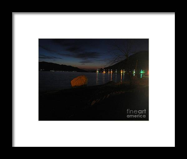 Ocean Framed Print featuring the photograph Winter Night Lights by De La Rosa Concert Photography