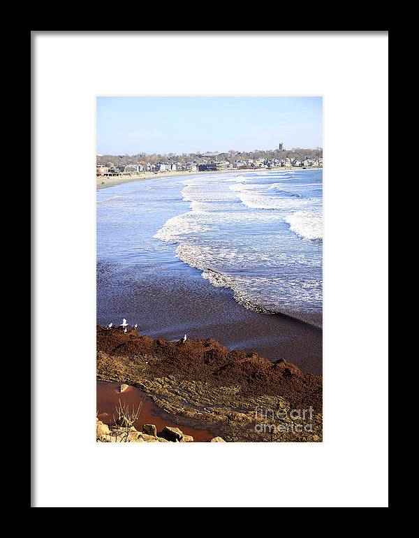 Winter Ocean Framed Print featuring the photograph Winter Ocean In Newport Ri by Michael Mooney