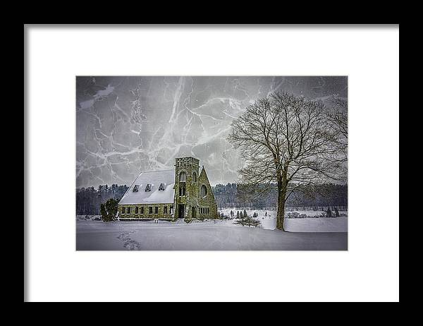 Winter Framed Print featuring the photograph Winter on the Old Stone Church by Bob Bernier
