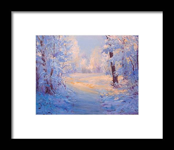Landscape Framed Print featuring the painting Winter Path. by Julia Utiasheva