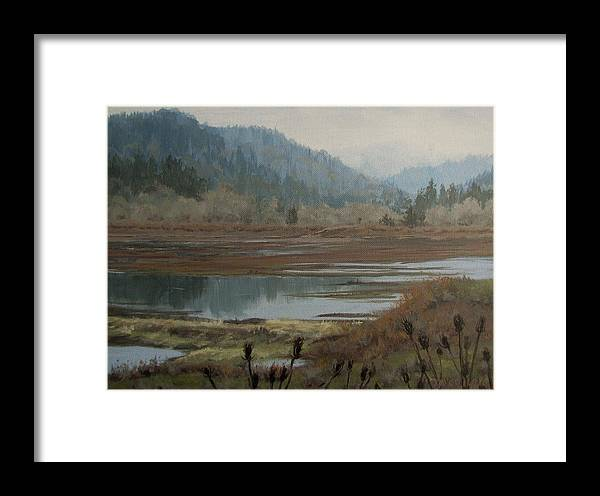 Pond Framed Print featuring the painting Winter Pond by Karen Ilari
