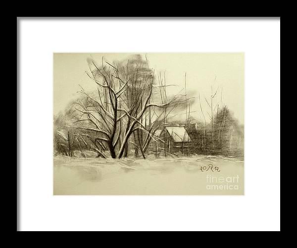 Landscape Framed Print featuring the drawing Winter by Raimonda Jatkeviciute-Kasparaviciene