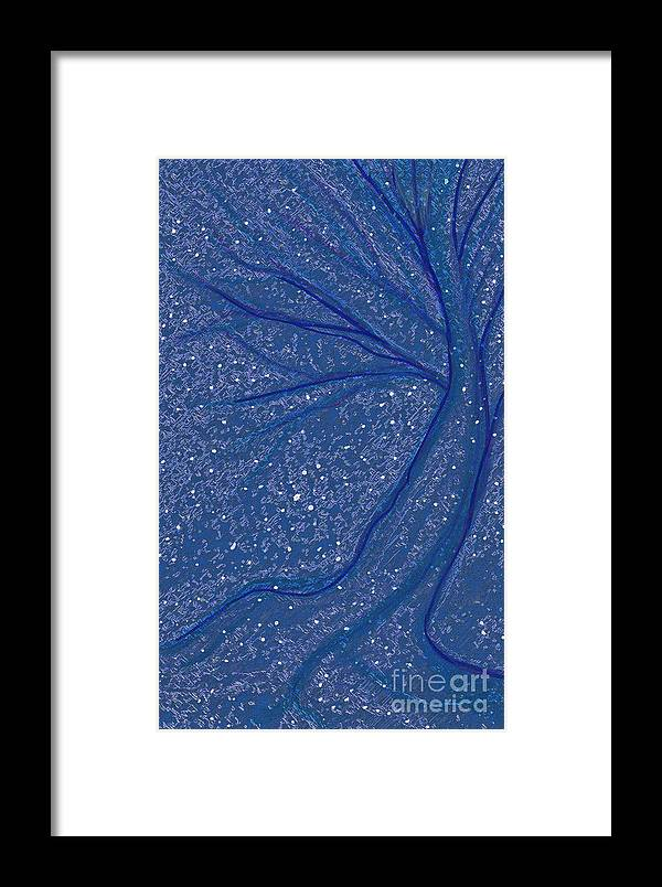 First Star Framed Print featuring the mixed media Winter Rain Tree by First Star Art