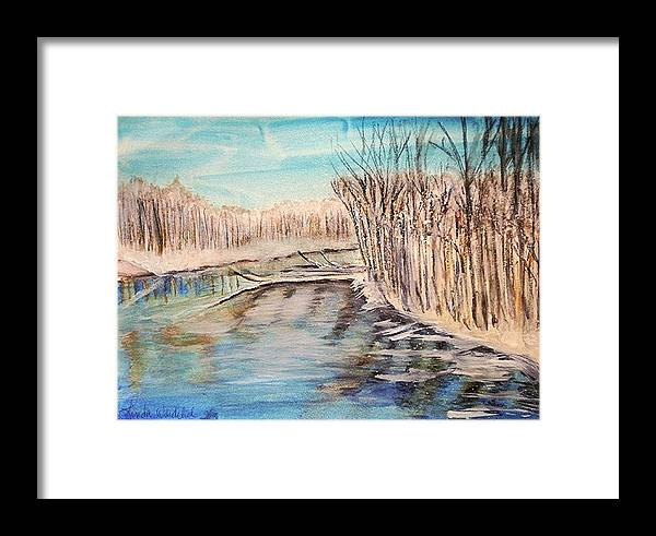 Landscape Framed Print featuring the painting Winter River Scene by Linda Waidelich