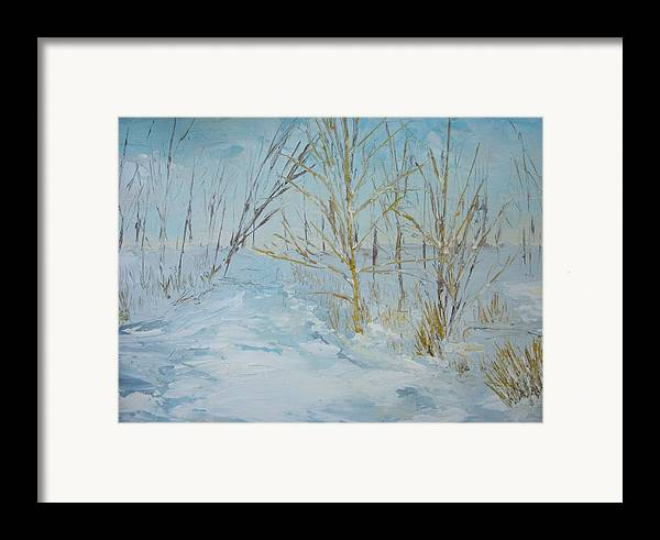 Landscape Framed Print featuring the painting Winter Scene by Dwayne Gresham