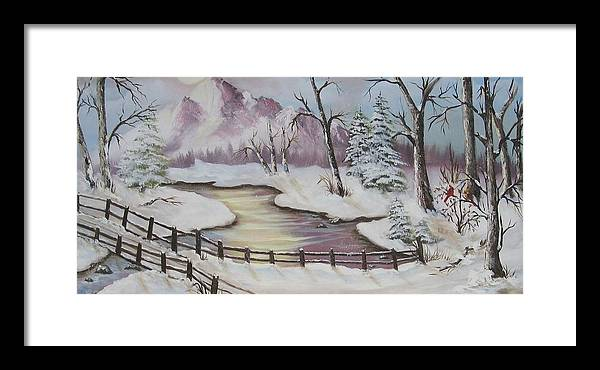 Christmas Framed Print featuring the painting Winter Scene by Joni McPherson