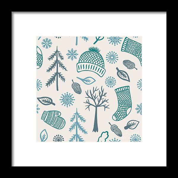 Wool Framed Print featuring the digital art Winter Seamless Pattern With Knitted by Marmarto