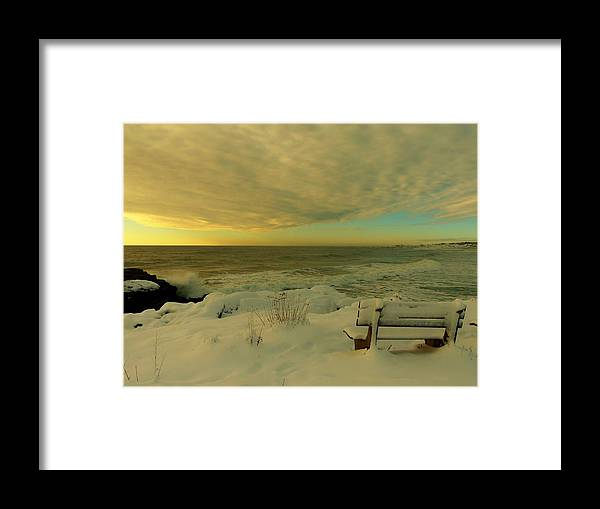 Snow Framed Print featuring the photograph Winter Seascape by Elaine Franklin