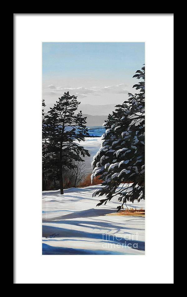 Winter Scene Framed Print featuring the painting Winter Serenity by Suzanne Schaefer